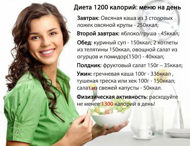 диета 1200 калорий меню на месяц отзывы